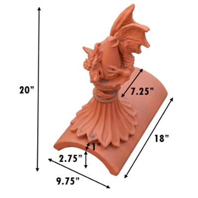 Sabre roof dragon segmental finial inches