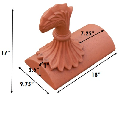 curved leaf segmental stop end finial measurements inches