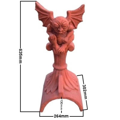 gargoyle on half round ridge tile