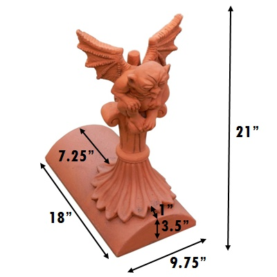 gargoyle segmental stop end finial measurements inches