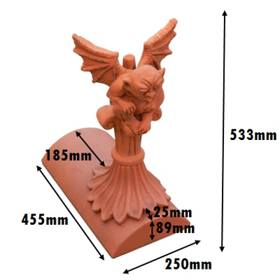 gargoyle segmental stop end finial measurements mm