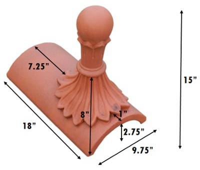segmental ball top 8 leaf finial measurements inches