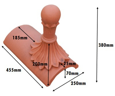 segmental ball top 8 leaf finial measurements mm