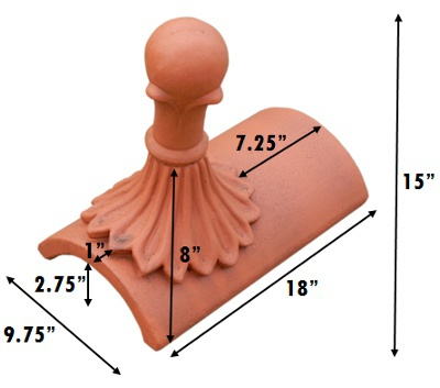 segmental ball top finial measurements inches