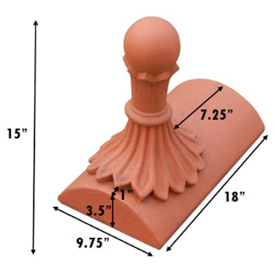 stop end segmental ball roof finial measurements inches