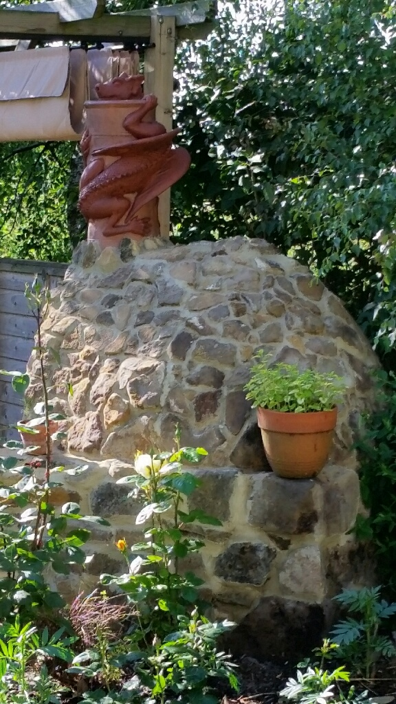 two tone chimney pot on pizza oven side view