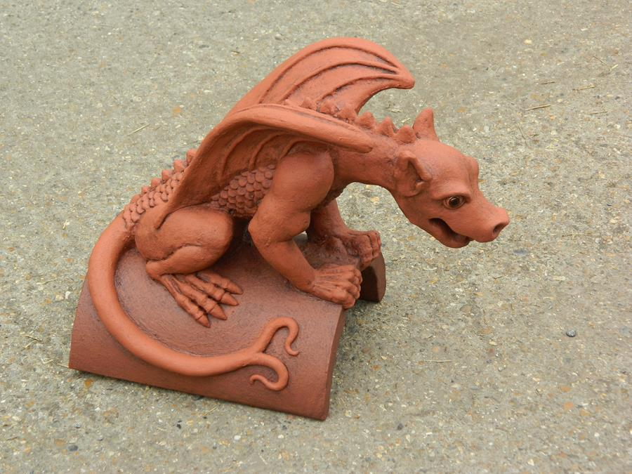 mythical dragon finial two tone terracotta